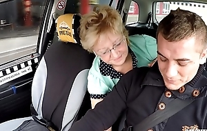 Czech experienced golden-haired wishing for taxi drivers cock