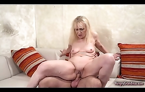 Blonde granny screwed together with facialized