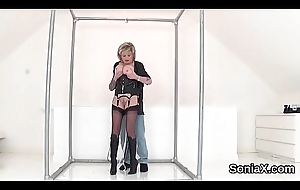 Unfaithful english milf lady sonia discloses her monster titties
