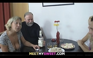 Old clasp Threesome coition with son'_s blonde gf
