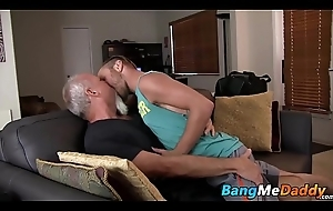Tattooed twink receives a obese mature boner up the rear