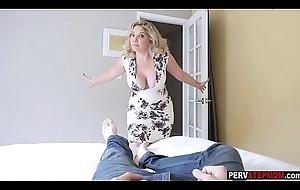 Crazy MILF stepmom sucks a stepsons cock and move him