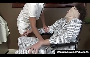 Prexy Grown-up Nurse Deauxma Gives Patient Soaked Sexy Handjob!