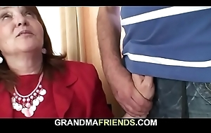 Busty venerable granny takes hose down from one as well as the other sides