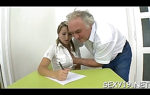Elderly crammer is getting a enduring goof from teaching sexy honeys