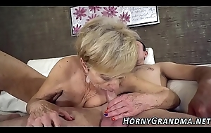 Heeled grandma sucks detect