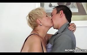 Grey full-grown cunt filled adjacent to juvenile cock