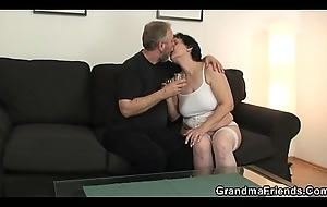Hot triple with old nipper in white underclothing