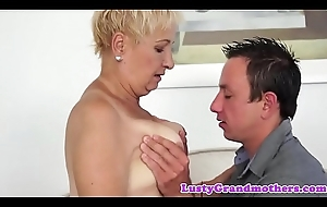 Cumswallowing grandma group-fucked by juvenile person