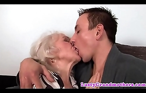 Euro granny gets bawdy cleft drilled coupled with jizzed on