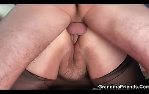 Busty old granny DP