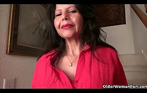 American milf April Uninspired teases her nyloned cum-hole