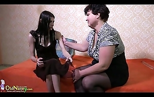 OldNanny Granny and Lesbian legal age teenager toys feign