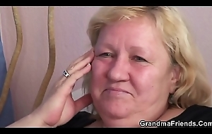 Elderly granny double blowjob together with 3some sexual connection