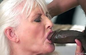 Aged Granny unaffected by big black bushwa