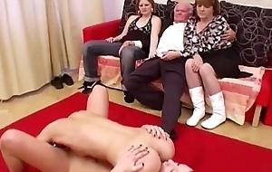 Hawt babes suck grandpa'_s cock
