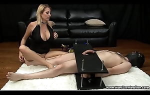 Miserly MILF gives depreciatory femdom tugjob to cock with reference to bondage