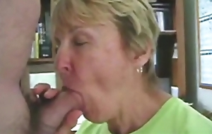 Grandma sucks the brush grandson'_s dick
