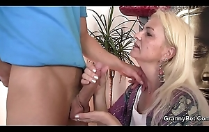 Skinny flaxen-haired granny riding thick natural personally
