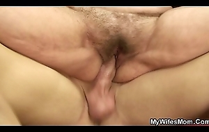 Hairy pussy mother inlaw gets naked about to rides load of shit