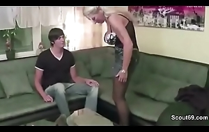 German MILF Mama Claudi Jolly along Juvenile manhood to drill her